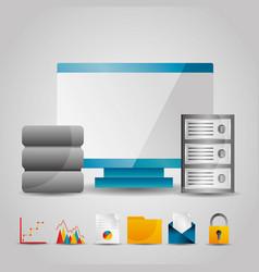 monitor computer data base server technology vector image