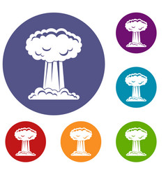 Mushroom cloud icons set vector