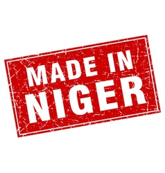 Niger red square grunge made in stamp vector image