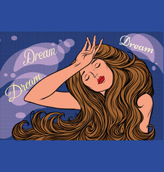 night dream of a beautiful woman vector image