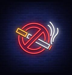 No smoking neon sign bright symbol icon vector