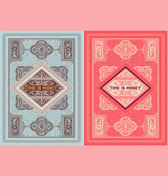 Old cards with floral details elements vector