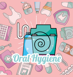 oral hygiene toothpaste and floss dentistry vector image
