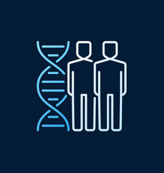 People with dna double helix linear colored vector
