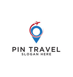 Pin map travel logo design template vector