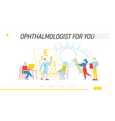 professional optician exam landing page template vector image