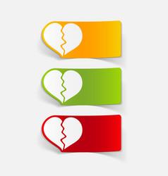 Realistic design element broken heart vector