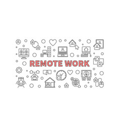 remote work outline horizontal banner or vector image