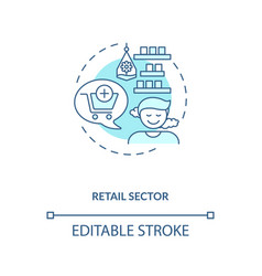 Retail sector blue concept icon vector