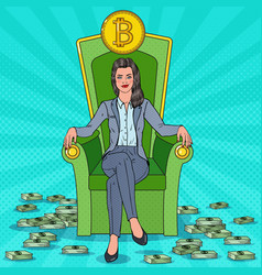 Rich business woman sitting on throne with bitcoin vector