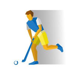 Running field hockey player vector