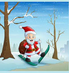 Santa claus skiing on snow with bag gifts vector