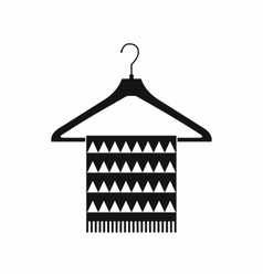 Scarf on coat-hanger black simple icon vector image