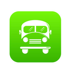 school bus icon green vector image