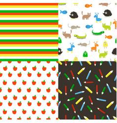 seamless flat patterns vector image