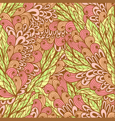Seamless floral pink and green pattern vector