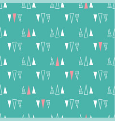 seamless pattern triangles on a mint green vector image