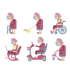 senior old woman wearing mask protect covid-19 vector image