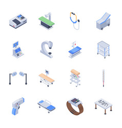 Set of medical equipment icons vector