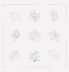 set of plant icons line style symbols with vector image
