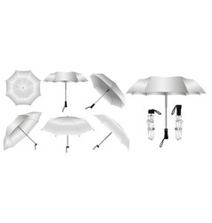set realistic umbrella in various type vector image