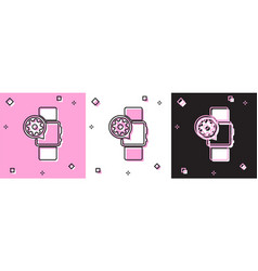 Set smartwatch and gear icon isolated on pink and vector