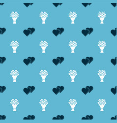 set two linked hearts and bouquet flowers on vector image