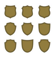 Shield shape bronze icons set simple flat logo on vector
