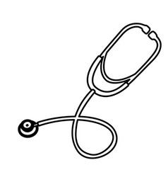 Silhouette stethoscope treatment icon vector
