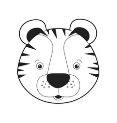 Sketch silhouette monochrome caricature face tiger vector
