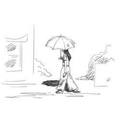 Sketch walking girl with sun umbrella back vector