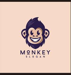 smiling cute monkey logo design vector image