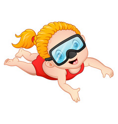 Snorkeling girl cartoon vector