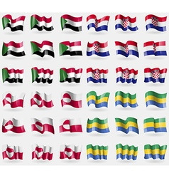 Sudan Croatia Greenland Gabon Set of 36 flags of vector