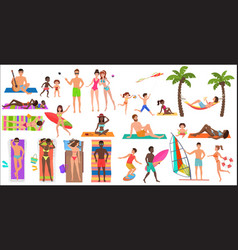 summer beach cartoon relaxing people activities vector image