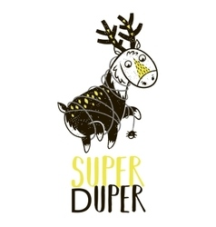 Super hero deer drawing for greeting card or tee vector