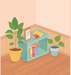 sweet home plants in pot interior bookcase frame vector image