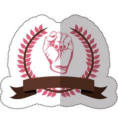 Symbol hand breast cancer defense vector