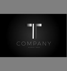 t black white silver letter logo design icon vector image
