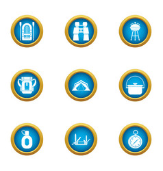 Trekking icons set flat style vector