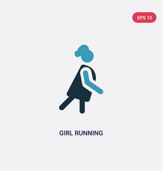 Two color girl running icon from people concept vector