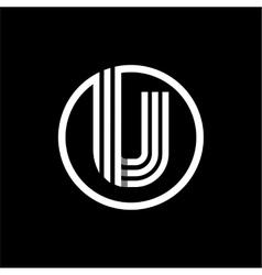 u capital letter three white stripes enclosed vector image