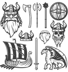 Vintage Viking Icon Set vector