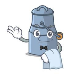 waiter milk can mascot cartoon vector image