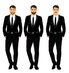 Wedding men s suit tuxedo vector