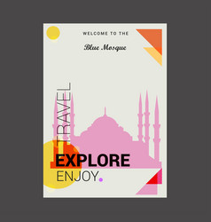 Welcome to the blue mosque istanbul turkey vector