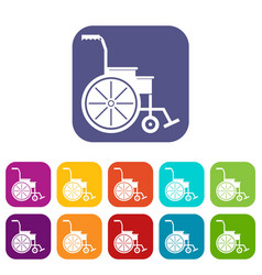 Wheelchair icons set vector