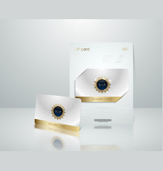 White vip card presentation with golden vector