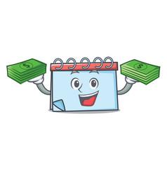 With money calendar mascot cartoon style vector