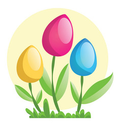 yellow pink and blue easter eggs on flower stems vector image